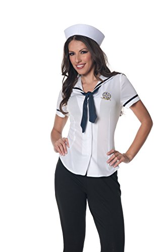 Underwraps Women's Plus-Size Sailor Fitted Shirt, White/Navy, XX-Large (Navy Sailor Costume)