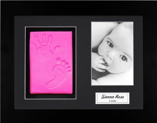 Anika-Baby BabyRice New Baby Girl Pink Hand and Footprint Kit, Black Photo Display Frame by Anika-Baby by Anika-Baby