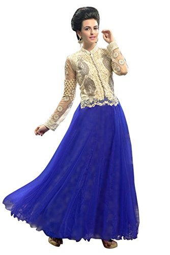 Vibes Women's Fashionable Georgette Gown Style Un-Stitched Dress Materials – Free Size, Blue