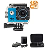 BeingYoung 16MP 1080P Sport Action Camera 4K WiFi HD Waterproof Sport Camera Remote Control 170 Degree Wide-Angle Lens,Include 2 Rechargeable 1050mAh Batteries blue