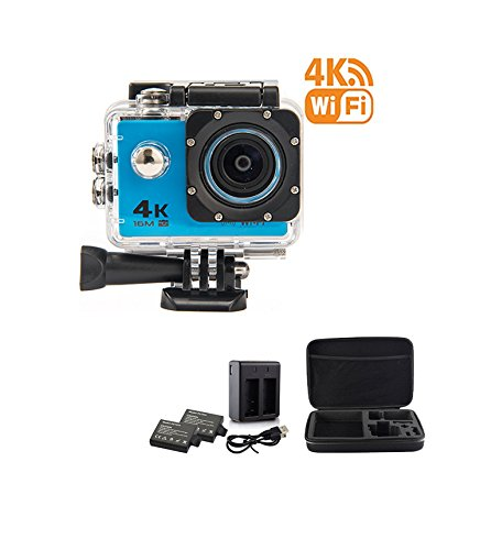 BeingYoung 16MP 1080P Sport Action Camera 4K WiFi HD Waterproof Sport Camera Remote Control 170 Degree Wide-Angle Lens,Include 2 Rechargeable 1050mAh Batteries blue by BeingYoung