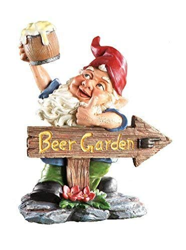 """Beer Garden Gnome Lawn Ornament., Hand Painted Resin. 10"""" tall. Perfect for Oktoberfest, Walkways, Gardens, Patios, and Beer Festivals"""