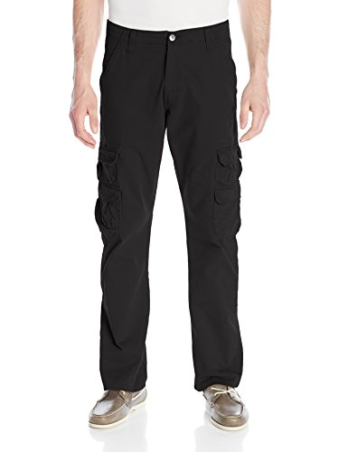 Wrangler Men's Authentics Men's Premium Relaxed Straight Twill Cargo Pant, Black, 36x32 (Twill Cargo Mens)