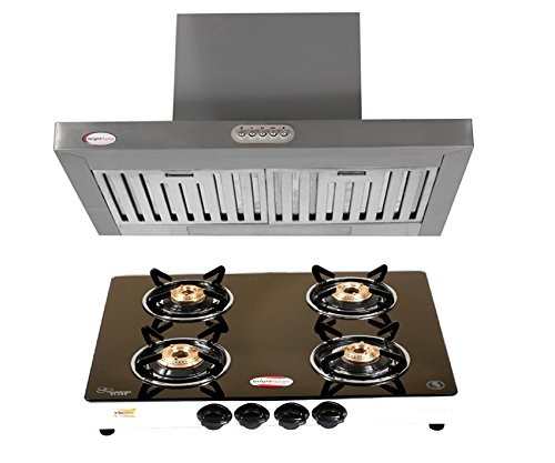 Brightflame Kitchen Chimney in 60CM (2ft) Lily SB & 4 Burner