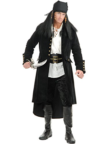 Treasure Chest Halloween Costume (Mens XS Teen 34-36 Treasure Island Black Pirate Duster Jacket Trench)