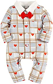 oklady bilison Baby Boy Valentines Day Outfit Gentleman Bowtie Tuxedo Suit One Piece Romper Jumpsuit Overall C