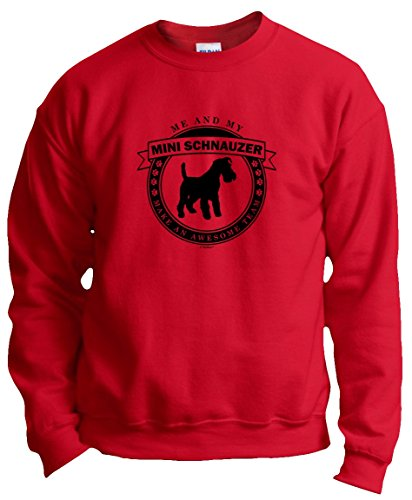 Dog Clothes Me My Miniature Schnauzer Make an Awesome Team Crewneck Sweatshirt Small Red
