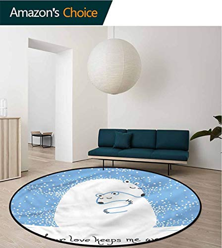 (RUGSMAT Animal Modern Machine Round Bath Mat,Polar Bear Mother Baby Living Room Bedroom Study Soft Carpet Round-71)