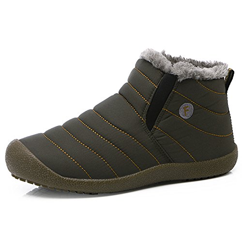 SITAILE Snow Boots, Women Men Fur Lined Waterproof Winter Outdoor Slip On Boots Ankle Snow Booties, Grey-Ankle high (Mens High Boot Tops)
