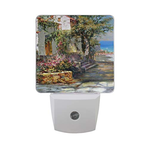 Night Light Beautiful Seaside Town Painting Led Light Lamp for Hallway, Kitchen, Bathroom, Bedroom, Stairs, DaylightWhite, Bedroom, Compact