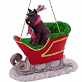 Black Schnauzer Dog in Sleigh Christmas Ornament New by Conversation Concepts