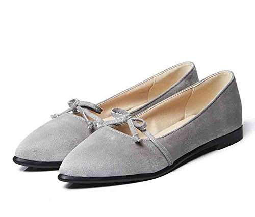 Easemax Kvinners Comfy Faux Suede Buer Spiss Tå Lave Topp Flate Loafers Grå  ...