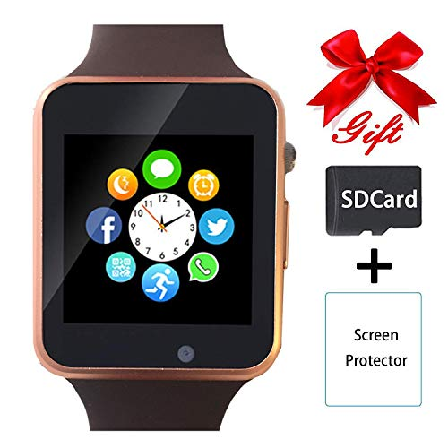 Smart Watch,Unlocked Touchscreen Smartwatch Compatible with Bluetooth/Android/IOS (Partial Functions) Call and Text Camera Notification Music Player Wrist Watch for Women Men(Gold) ()