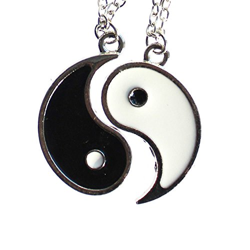 HonsCreat Enamel Alloy Best Friend I Ching Bagua Tai Chi Ying Yang Pendant Couple Necklace