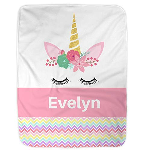 (Personalized Baby Blanket, Personalized Preschool Blanket, Unicorn Personalized Blanket by Nap Mat Carriers (Pink))
