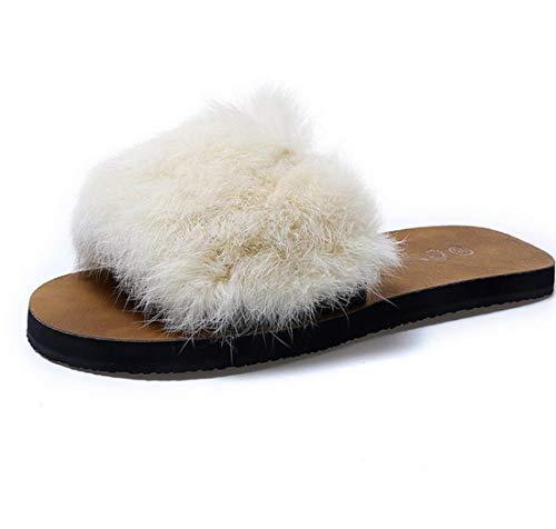 donna Pantofole da Outdoor Casual DANDANJIE casa Moda Beige Peluche Scarpe da Scarpe FwxpEp