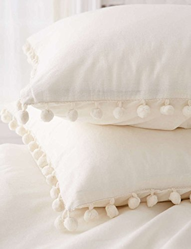 Fringe Throw Pillow (Pom-Fringe Sham Set Cotton Pillow Covers,18.9in x29.1in,Set of 2)