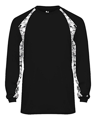 Black/White Digi-Camo Adult 2XL Long Sleeve Digi-Camo Side/Sleeve Panel Performance Sports Wicking Jersey/Shirt