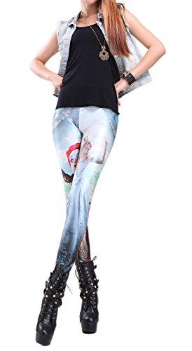 Alralel Women Fairy Tale Digital Printed Tight Footless Full-length Leggings Alice In Wonderland (Alice In Wonderland Tights)