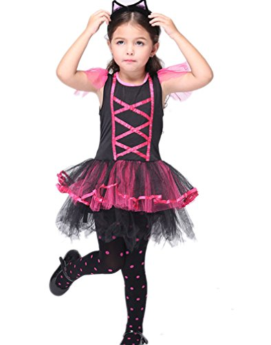[ACVIP Girl's Fancy Fairytale Devil/Pirate/Witch Halloween Costume 4-7Y (7 years, kitty)] (Pirate Kitty Costume)