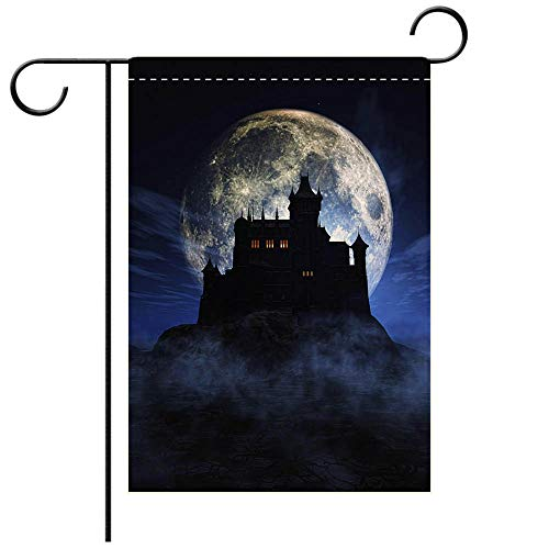 BEICICI Double Sided Premium Garden Flag 3D Halloween Background with Spooky Castle Decorative Deck, Patio, Porch, Balcony Backyard, Garden or Lawn -