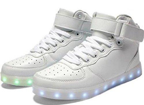LED bianco Alla da Scarpe Lampeggiante Camminata 7 Moda Asciugamano Alto Carica Piccolo bianco s Scarpe Unisex Uomo Donna per Luminosi USB da Colori Calzature Sopra Presente LED junglest Luce Lo TqXCwax