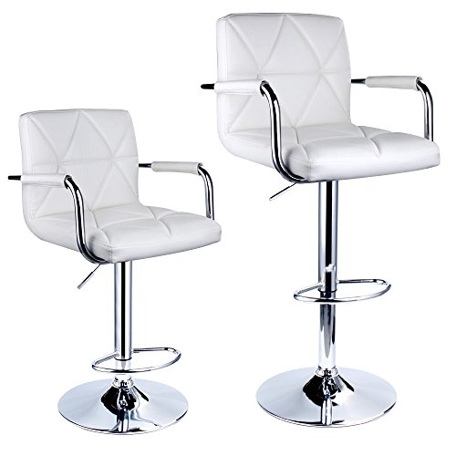 Leader Accessories Square Back Adjustable Bar Stools with armrest,Set of 2,White (Stool Bar Arms)