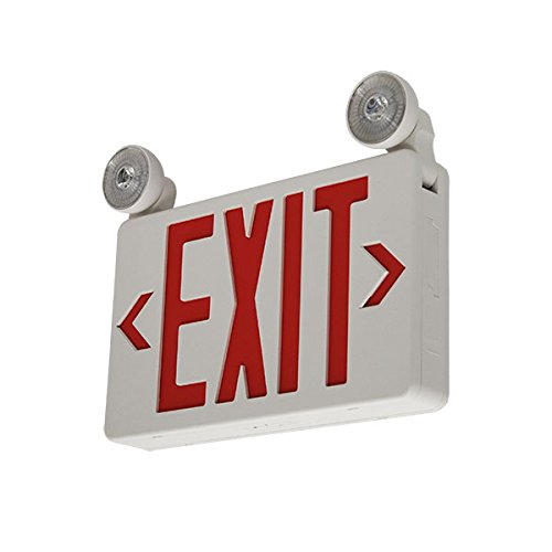 LFI Lights - 2 Pack - UL Certified - Hardwired Red LED Compact Combo Exit Sign Emergency Light - COMBOCRx2