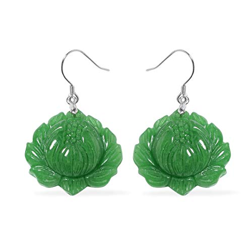 - Dangle Drop Earrings 925 Sterling Silver Dyed Color Green Jade Jewelry for Women