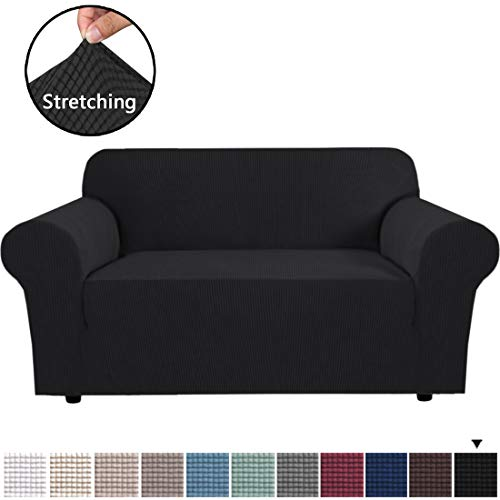 "H.VERSAILTEX 1 Piece Loveseat Slipcovers Stretch Furniture Cover Lycra Spandex Jacquard Fabric Super Soft, Stretching Skid Resistant Sofa Protector - Loveseat (58""-72"") - Black"