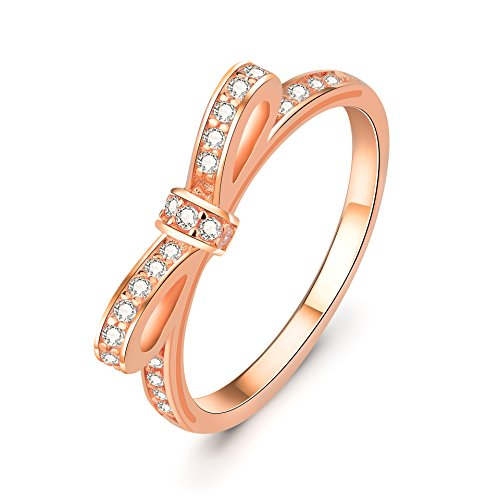(YFN 925 Sterling Silver Women Ladies Eternal Love Bow Rings 5-9 (rose-gold-and-sterling-silver, 6))
