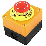 uxcell Red Lamp Self Locking Emergency Stop Mushroom Switch Push Button Station 660V