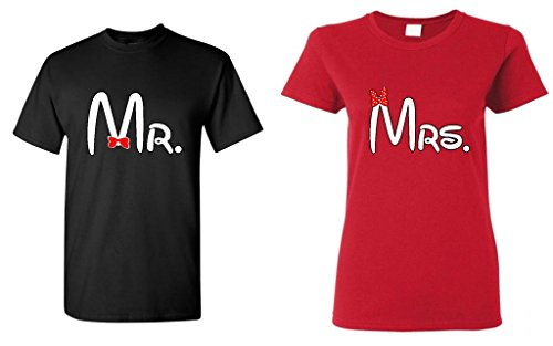 Par Matching Cartoon fuente Sr. – La Señora T-Shirt Men 3xl - Women Medium,black - Red