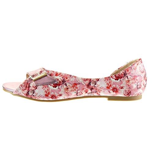 Angkorly - Chaussure Mode Sandale ouverte sexy femme fleurs lanière boucle Talon bloc 1 CM - Rose