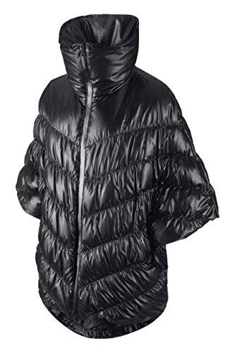 Nike Womens Puffer Cascade Down Poncho Jacket, Black, Small - Nike Leather Jacket