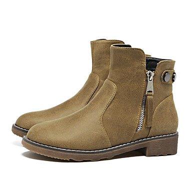 Ch & Tou Chaussures Femme-bottines-loisirs-autres -peau Noire-noir / Khaki, Kaki, Us8 / Eu39 / Uk6 / Cn39