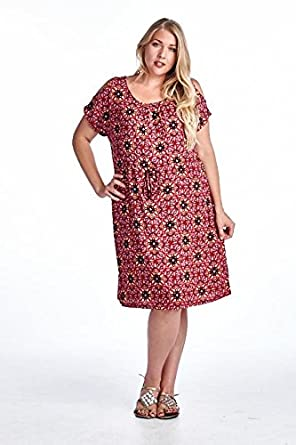 a7b15ebb73f Marcelle Margaux Plus Rayon Challis Dress 3X Red 2 at Amazon Women s ...