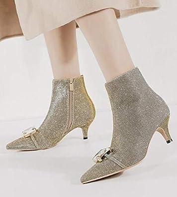 Womens Paillete Martin Combat Ankle Boots