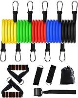 KOOLSEN シットアップトレーニングチューブ 腹筋エクササイズ トレーニング ペダルプラー 筋肉トレーニング ダイエット 筋トレ 美尻 腹筋弾性ロープ フィットネス機器 (11セット) (Black)