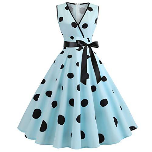 (DORIC 2019 Summer Fashion Women Casual 1950s Retro Sleeveless V-Neck Dot Printing Pleated Party Dress Prom Swing)
