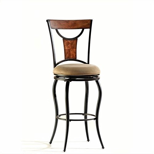 Hillsdale Pacifico Swivel Counter Height Stool, Dark Maple and Metal