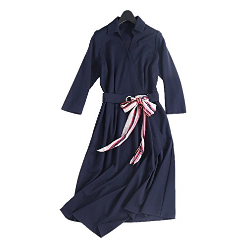 Dress Polo Blue Deep Dresses Women`s Irregularity Color cotyledon Solid Neck qgXgR0