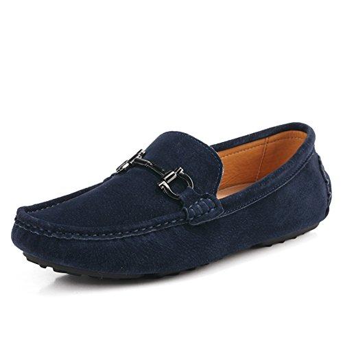 Gå Tur Mens Klassiska Moc Tå Spänne Tillfälliga Mocka Loafers Kör Skor Mörkblå