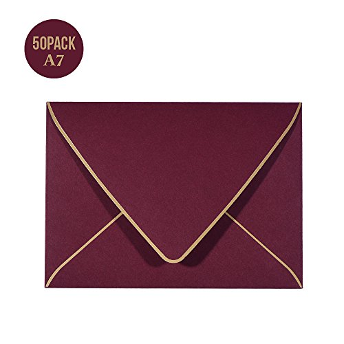 A7 Luxury Burgundy Invitation Envelopes 5 x 7 - For 5x7 Cards| Self Seal| Perfect for Weddings, Invitations, Photos, Graduation, Baby Shower| 5.25 x 7.25 Inches