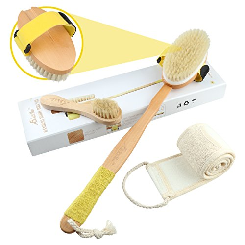 3-Pcs Wooden Brush Set W/ Natural Boar Bristles For Bath By TaiLaiMei - Dry Body Brush W/ Detachable Head, Face Brush & Exfoliating Back Scrubber - For Cellulite & Dermatic Conditions