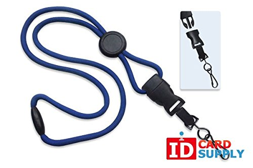 100 - Royal Blue Lanyards with Breakaway 1/4 (6mm) Strap and DTACH Swivel Hook ending [ 2135-4574 ] -