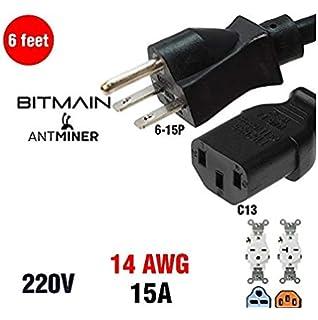 PSU 220v 240v HEAVY DUTY Power Cord Cable For Antminer S9 8 FEET! BITMAIN APW3+