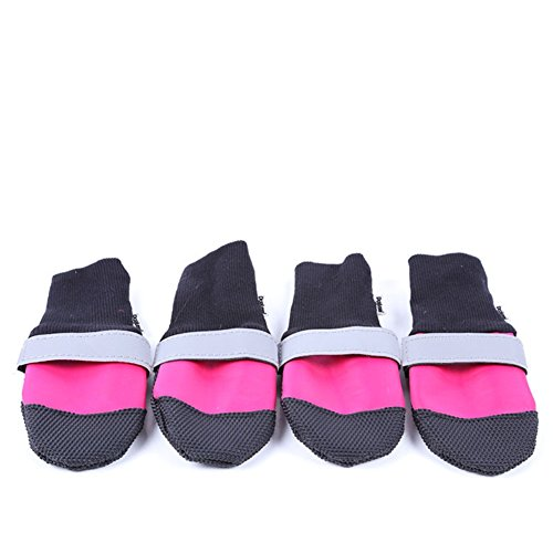 [Kuoser Reflective Durable Waterproof Dog Shoes with Soft Anti-slip Leather Soles for Large Medium Dogs 4 Pcs] (Wood Costumer)