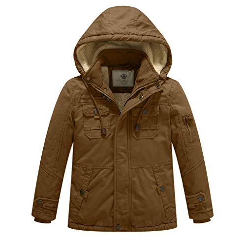 WenVen Boy's and Girl's Cotton Heavy Twill Hooded Jacket Brown, 4-5Y