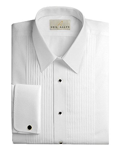 Tuxedo Shirt By Neil Allyn - 100% Cotton with Laydown Collar and French Cuffs (16 - - Shirt Collar Tuxedo Laydown White